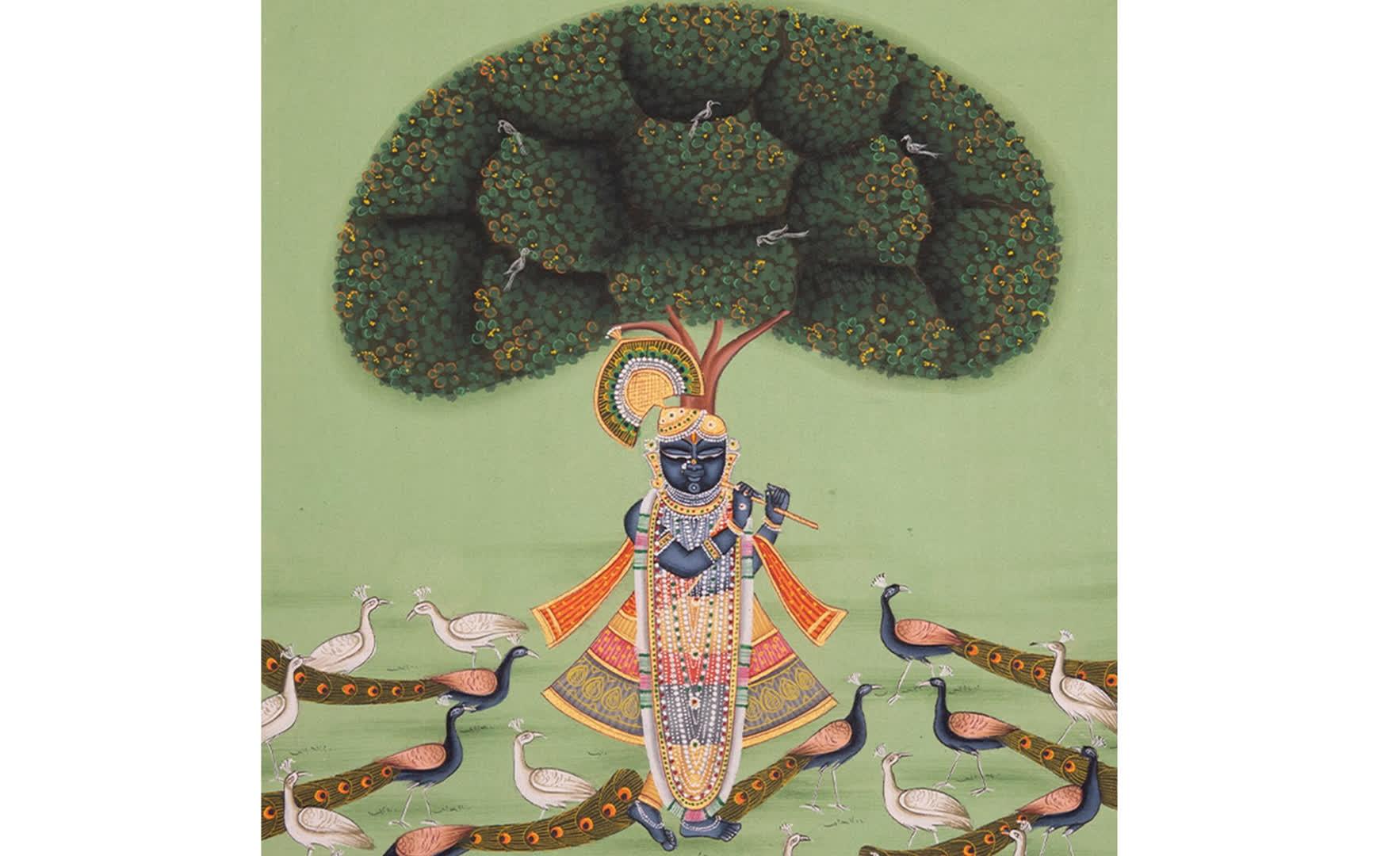 Srinathji standing under the Kadamba tree, surrounded by peacocks