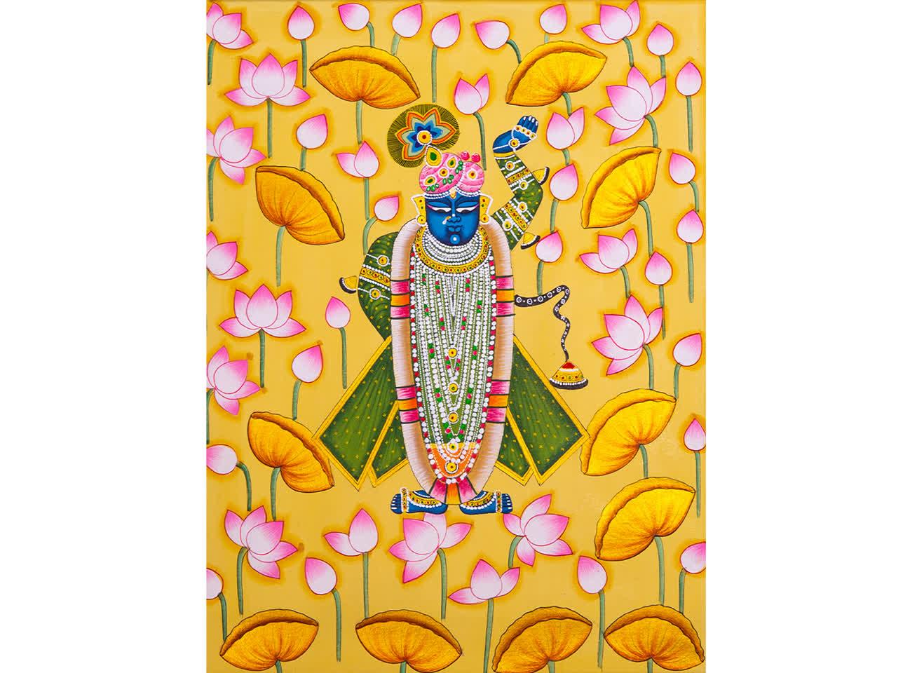 Shrinathji surrounded by lotuses   Peepul Tree