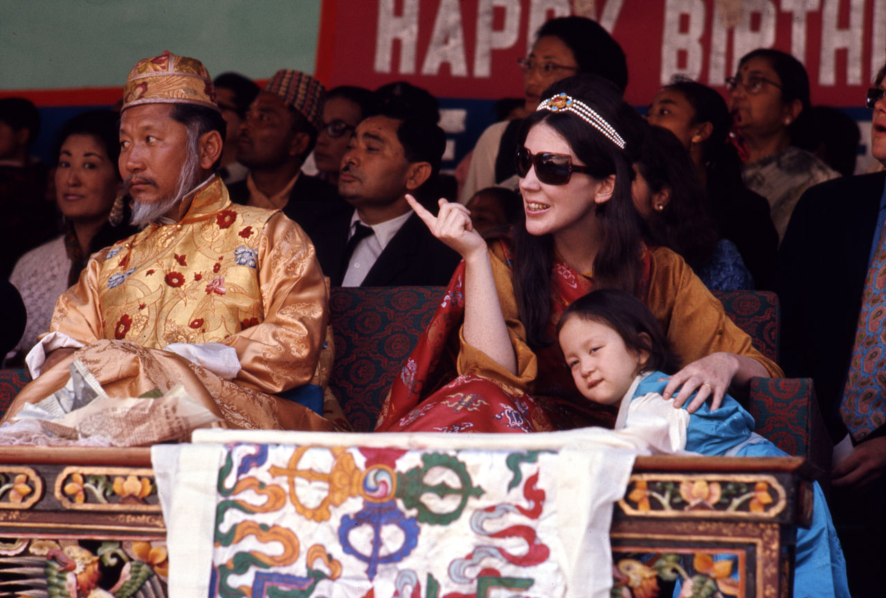 King and Queen of Sikkim and their daughter watch birthday celebrations, Gangtok, Sikkim in May 1971