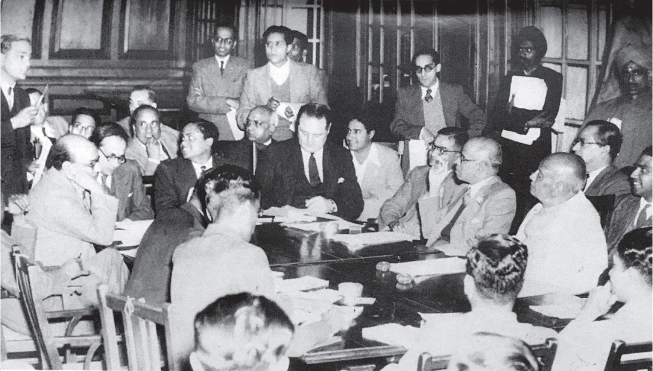 Sardar Patel reviews the constitutional progress of Indian states at a press conference in New Delhi on 29 January, 1948. Seen on Sardar's right is V.P. Menon.