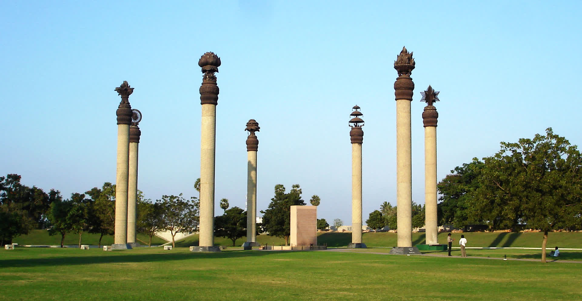 Seven pillars, each featuring a human value surrounds the site of the blast at the Rajiv Gandhi Memorial in Sriperumbudur