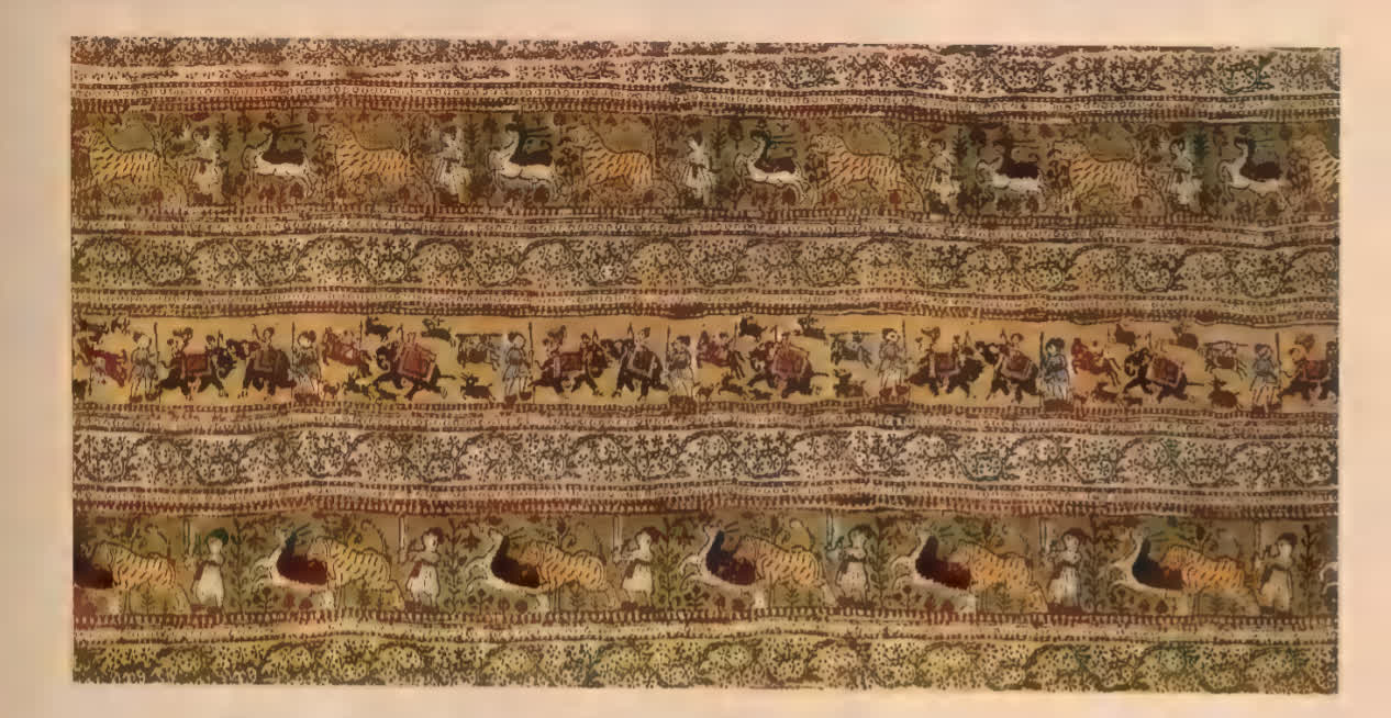 Sanganeri block-printed border detail of a floorspread, 19th Century | Indian Painted and Printed Fabrics, John Irvin and Margaret Hall (Calico Museum of Textiles)
