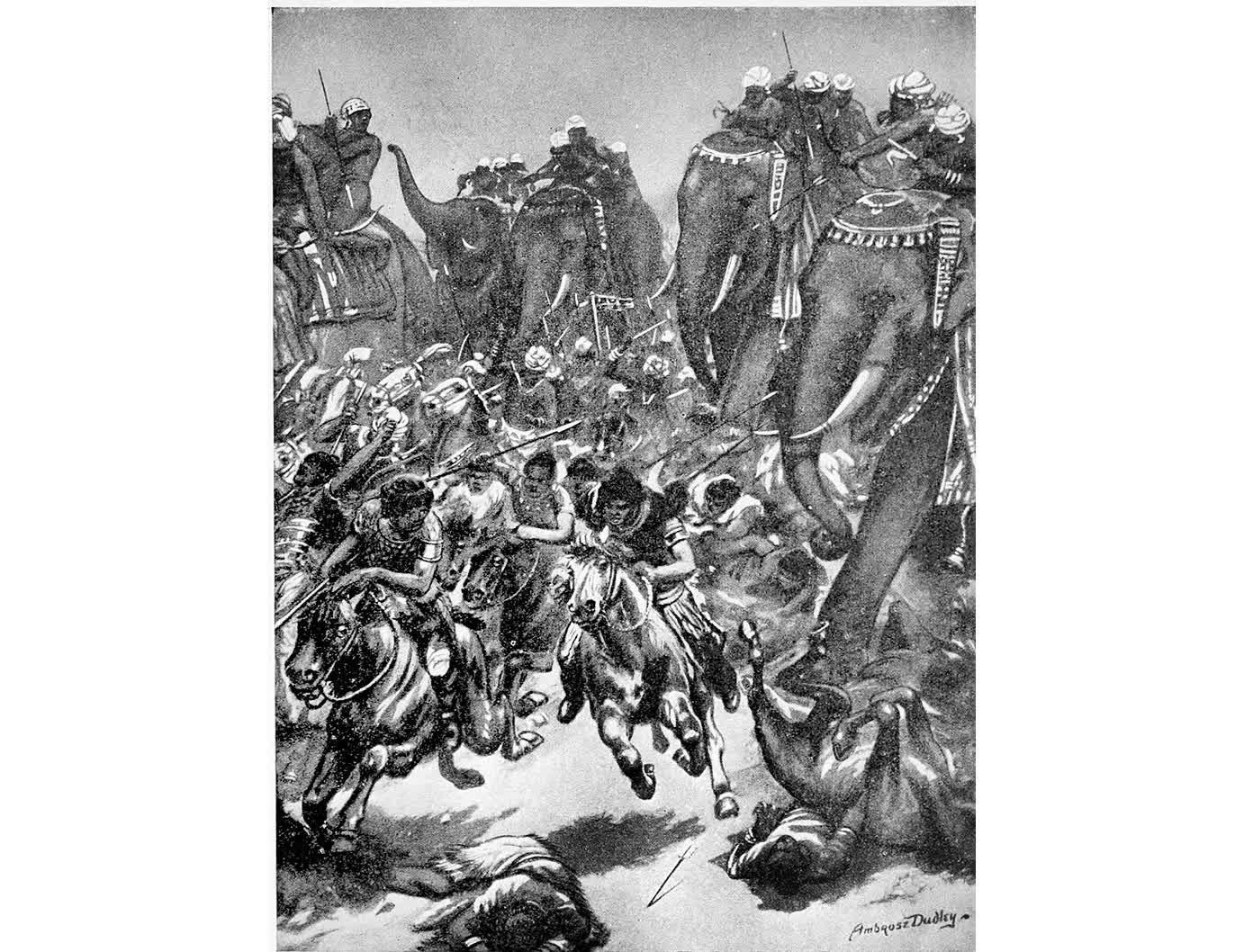 The defeat of Mihirakula by Yashovarman | Robert Ambrose Dudley (1867-1951), British painter and illustrator