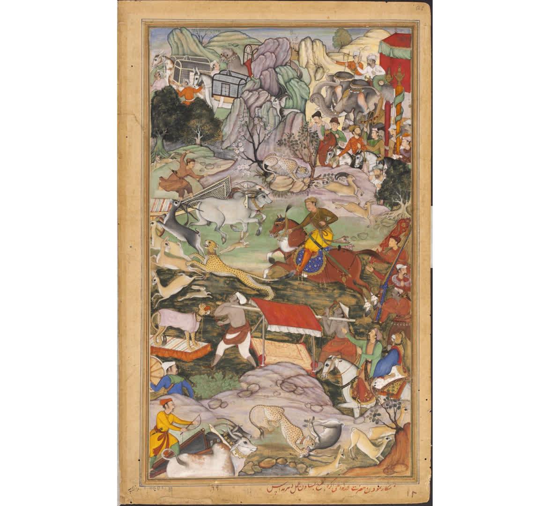 Akbar hunting with a Cheetah, c. 1590-95