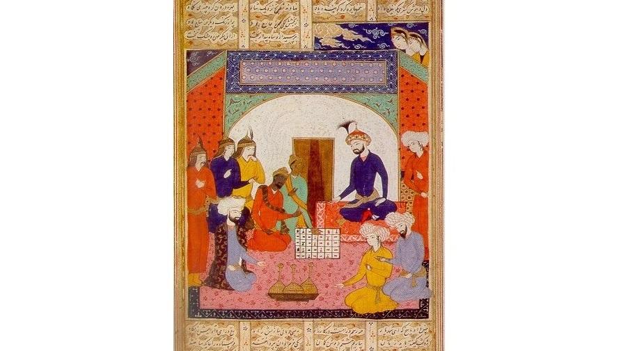 Persian manuscript describing how an ambassador from India brought chess to the Persian court