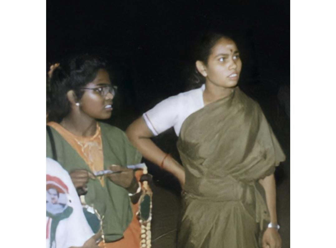 Dhanu (left) next to Latha Kannan who also died in the blast, Rajiv Gandhi rally, Sriperumbudur, 1991