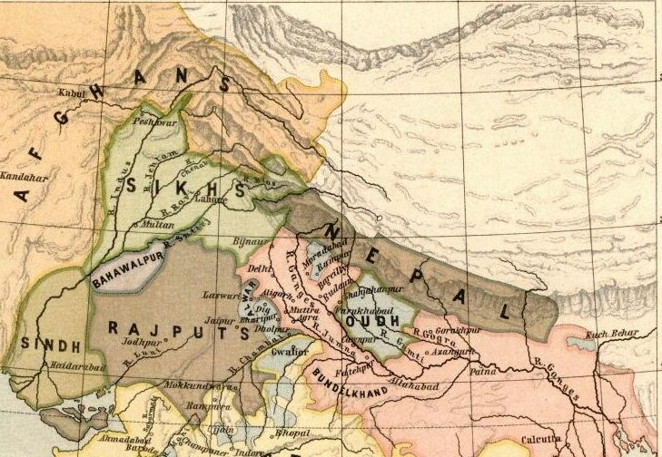 Northern Map of India in 1805. (In pink: British territories, in blue: British protected states)