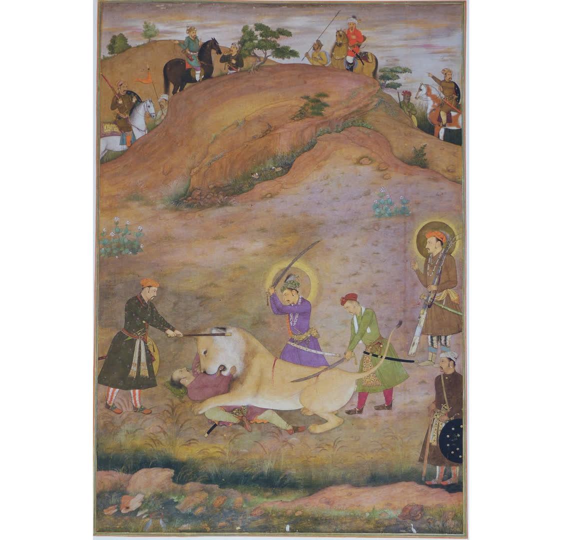 Prince Khurram (later Shah Jahan) killing a lion who attacked Anup Singh Badgujar, a Rajput noble. Folio from Padshahanama.