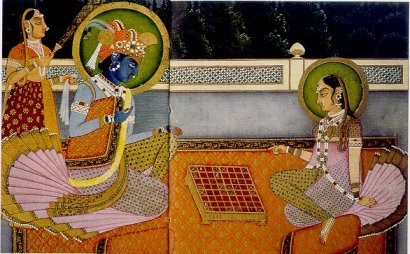 Krishna and Radha depicted playing Chaturanga on an 8×8 ashtapada