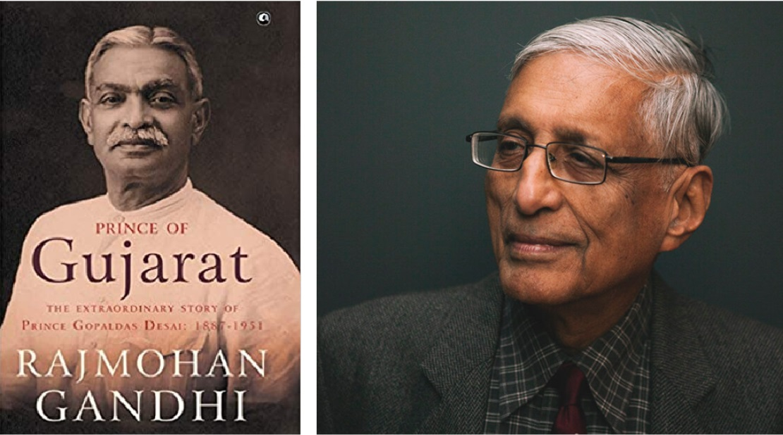 The book cover, and its author Rajmohan Gandhi
