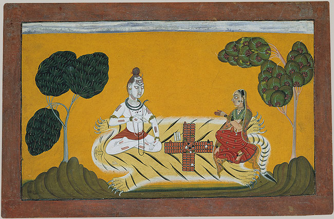 Painting of Shiva and Parvati playing Chaupar