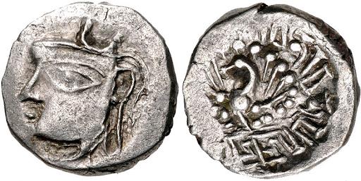 A silver coin of Harshavardhana Classical Numismatic Group, Inc.