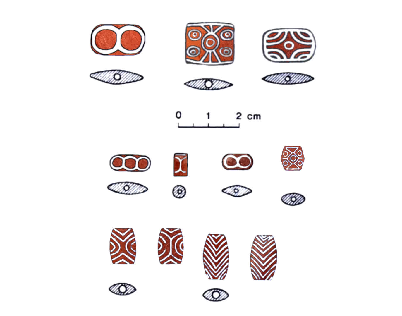 Illustration of etched carnelian beads after Mackay