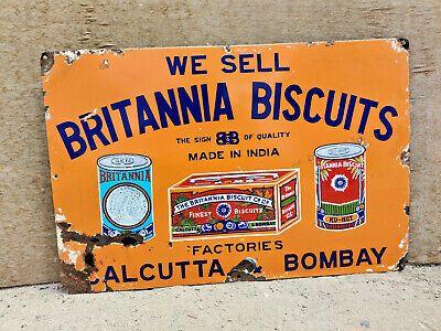 Vintage Enamel Sign 'We Sell Britannia Biscuits' Advertisement, 1920s