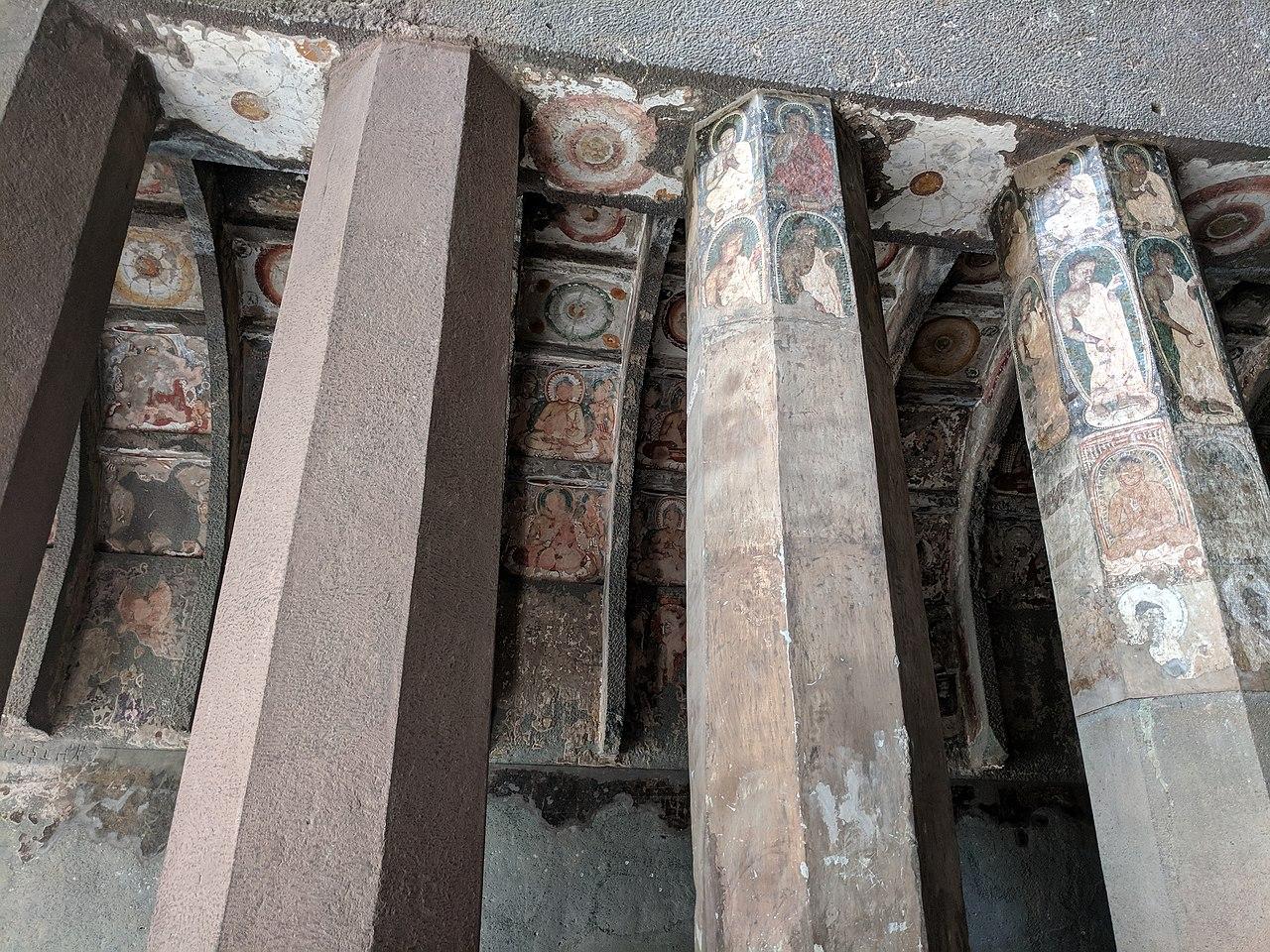Paintings inside Cave No. 10 at Ajanta