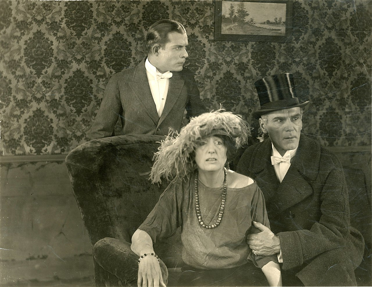 Pritchard at right with Earle Foxe and Florence Reed in the silent movie 'The Black Panther's Cub' (1921)