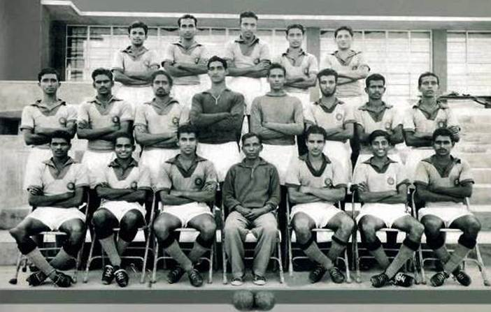 Balaram: First from the left in the first row (1960 Olympic team)