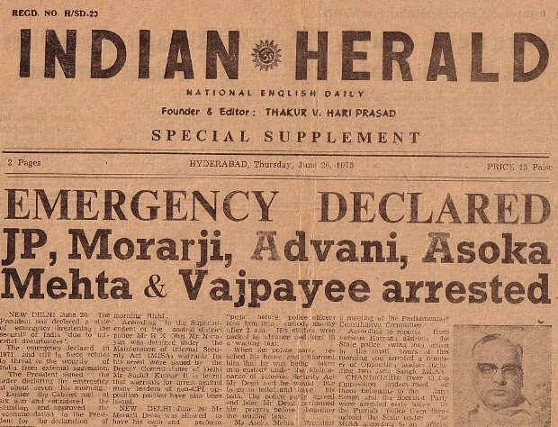 Newspaper headlines reporting the Emergency, 1975