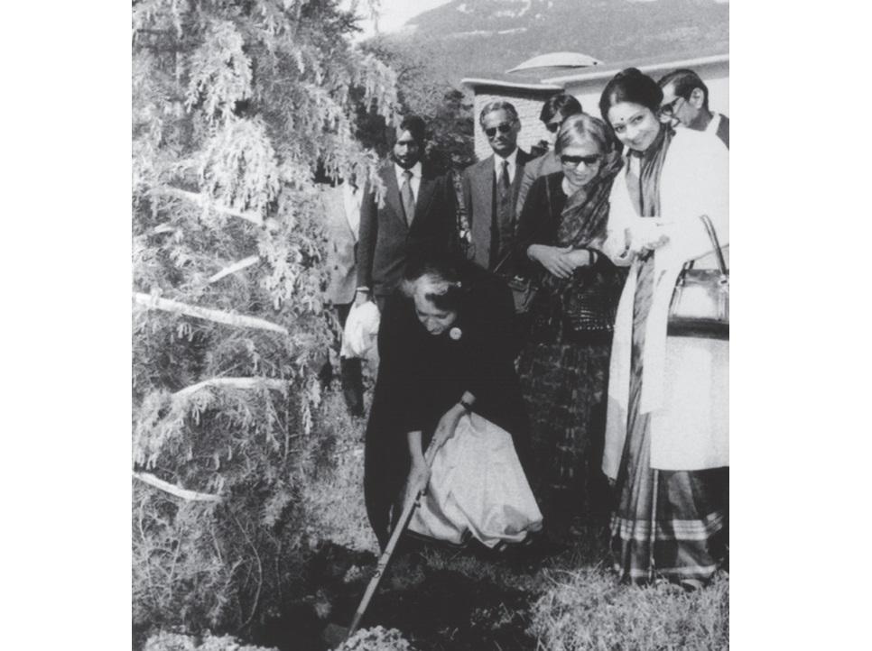 Indira Gandhi planting tree at her old school in Bex, Switzerland; October 1981
