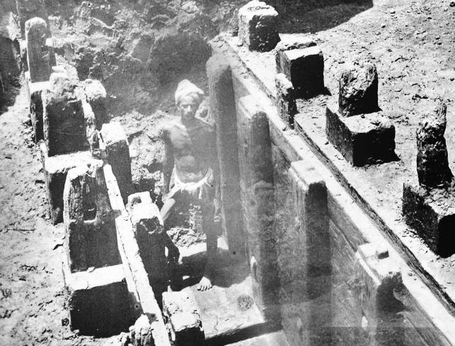 Mauryan remains of a wooden palisade discovered at the Bulandi Bagh site of Pataliputra