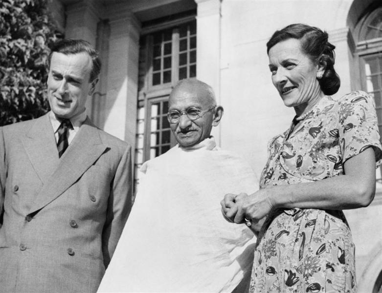 Mountbattens with Mahatma Gandhi