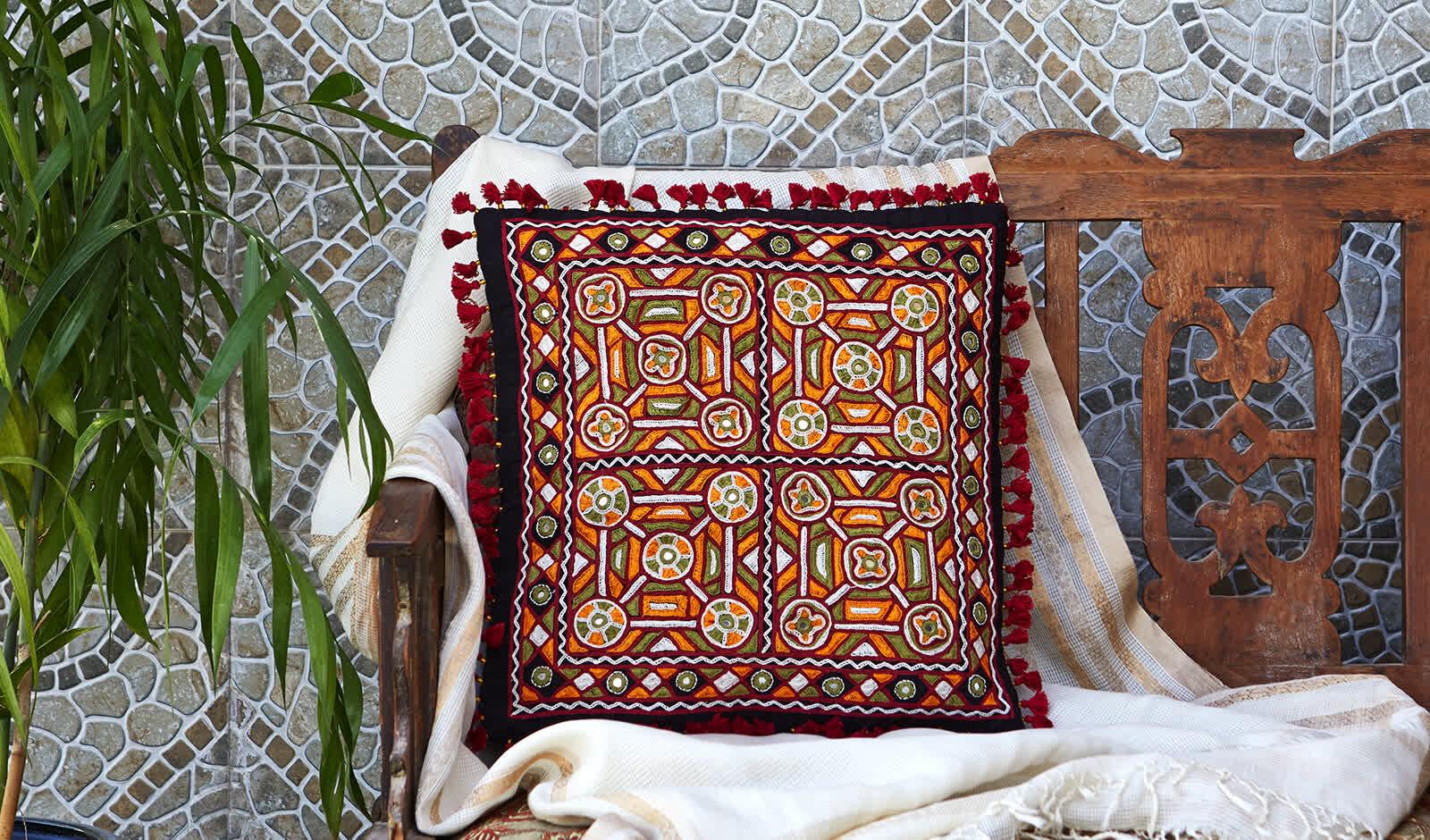 Pakko Embroidered Cushion   Peepul Tree