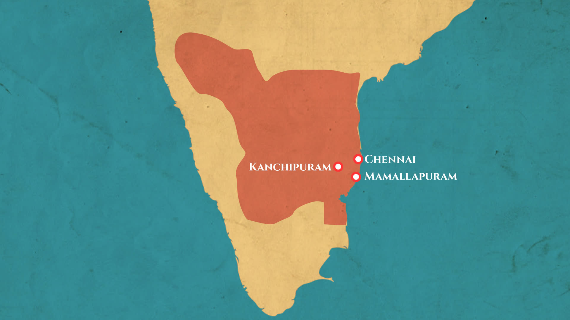 Extent of the Pallava Empire c. 645 CE | LHI