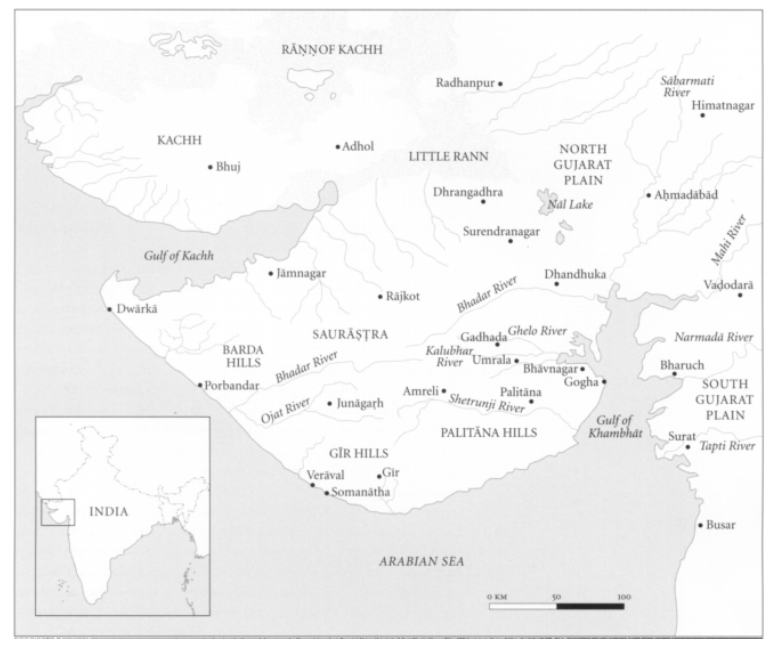 Map of Gujarat with important towns and cities of the Maitraka period - After Himanshu Prabha Ray, Ars Orientalis, Vol. 34, Communities and Commodities: Western India and the Indian Ocean, Eleventh-Fifteenth Centuries (2004)