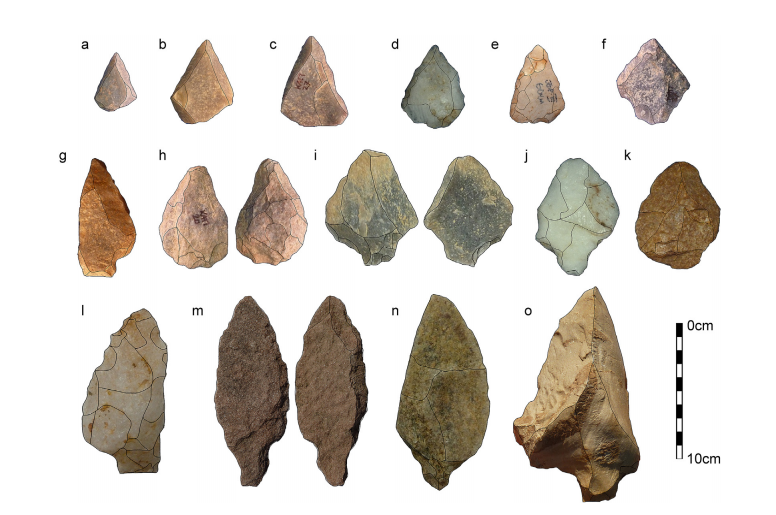 New discoveries of Levallois tools and tanged points (points which can be hafted to spears) - After J Blinkhorn