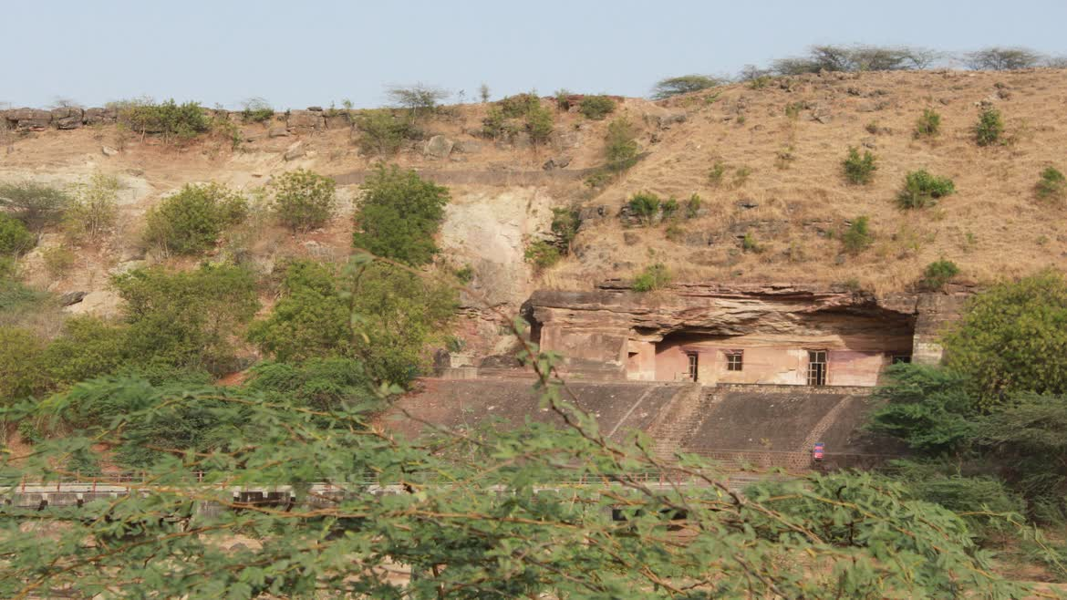 A view of the Bagh Caves