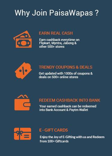 Join PaisaWapas to Earn Extra Cashback