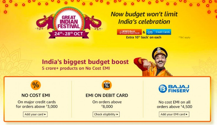 Amazon Bank Offers for Great Indian Festival Sale Posted By Ganesh on October 8, 2020 The Amazon Great Indian Festival sale is set to begin on October 17th with a 24-hour exclusive early access for Amazon Prime members. The Amazon Great Indian Festival Sale is one of the biggest online shopping festivals in India where shoppers can get huge discounts, deals and offers on products ranging from smartphones, home decor, electronics to daily essentials. However, not many know that it's possible to save even more simply using their credit or debit cards with the help of Amazon bank offers. Here's everything you need to know regarding Amazon Bank offers which you can use to save big this festival season. Contents ICICI Bank Credit Card Offers HDFC Bank Offers EMI Options Amazon Pay Save More on Amazon Bank Offers with Prime ICICI Bank Credit Card Offers Apply for an Amazon Pay ICICI Bank credit card and earn rewards every time you pay for non-EMI orders. Here are a few of the other benefits you will gain by applying for the same: Applying for the card is absolutely free with no joining or annual charges. All reward points are credited directly into your Amazon Pay balance. The application process takes just 60 seconds at the end of which ₹750 will be credited to your Amazon Pay balance instantly. Earn flat 3% cashback on mobiles and groceries Get 2% cashback on every bill payment, travel-related payments as well as on adding money into your Amazon Pay wallet. What's more, payments made for food, health and entertainment will also earn you a 2% reward. Earn 1% reward for all other payments including groceries, dining, furniture etc. other than fuel and gold. Unlike other reward schemes, this is a zero-hassle process where 1 reward equals ₹1 and the same is credited directly to your Amazon Pay Balance at the end of every month. Click here to apply for your Amazon Pay ICICI Credit card today. HDFC Bank Offers Amazon has also partnered with HDFC Bank to offer customers making