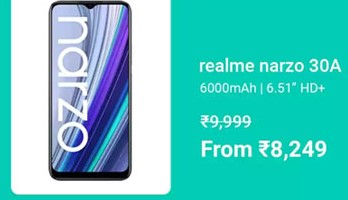 MOBILE BONANZA   Buy Realme Narzo 30A at Rs. 8249+Extra 10% on HDFC Bank Credit Cards & EMI transactions