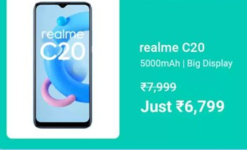 MOBILE BONANZA | Buy Realme C20 at Rs. 6799+Extra 10% on HDFC Bank Credit Cards & EMI transactions
