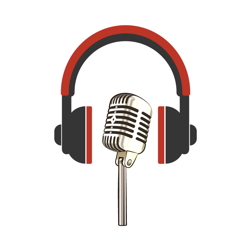 Headphones around a stage mic