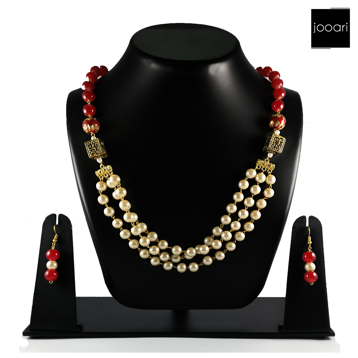 Gold Squares Red White American Pearl Designer Plated Necklace Set