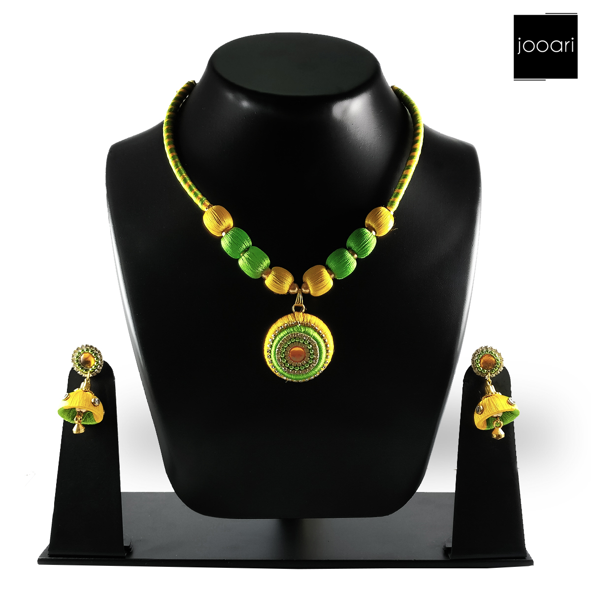 Green Yellow Designer Silk Threaded Necklace Set with Earrings for Women and Girls
