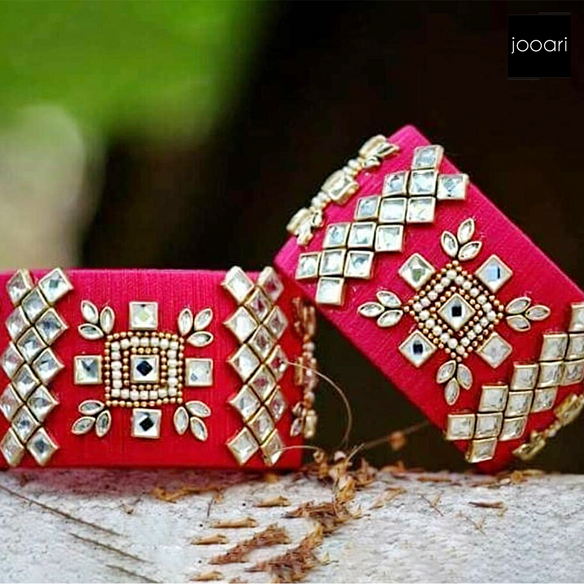 Pearl Studded Ethnic Traditional Party wear Magenta Pink Color Bangles Set for Women and Girls