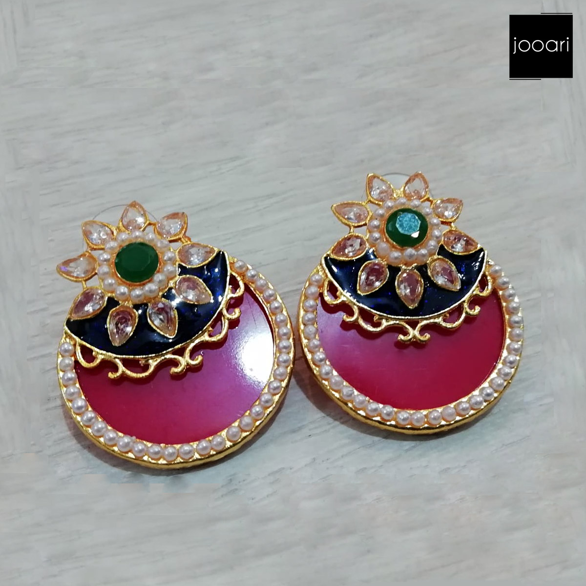 Star Round Green Red Earring for Stylish look for Girls and Women