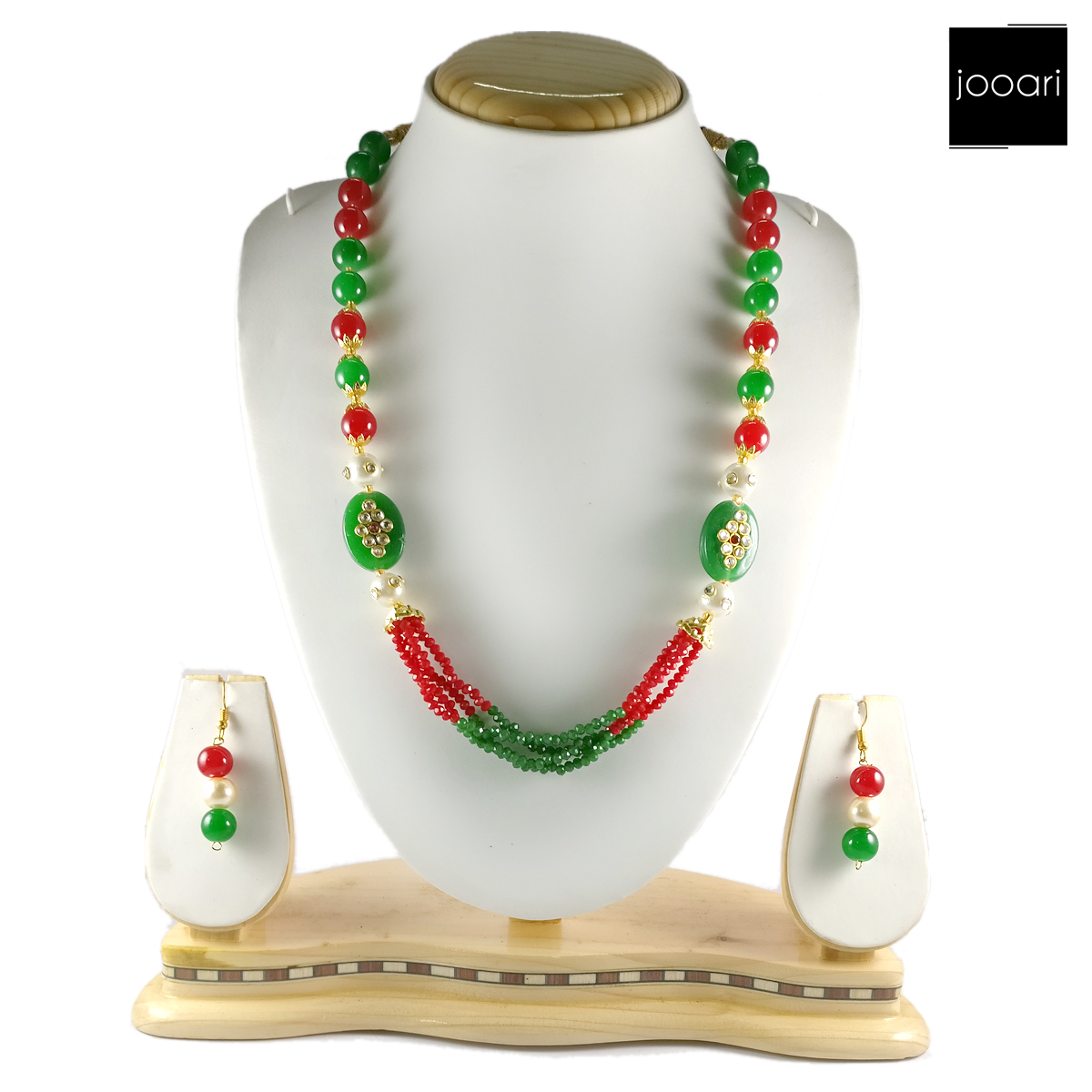 Red Green Designer Necklace Set and Earrings with Red Green Bead Chain for Women and Girls (Traditional and Party Wear)