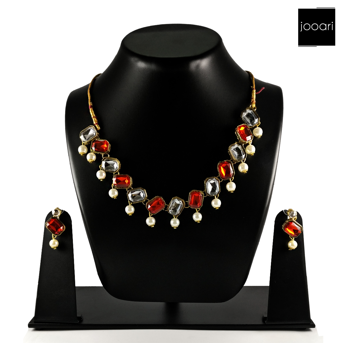 Orange & White Studded Stones with White Pearl Classic Necklace for Women