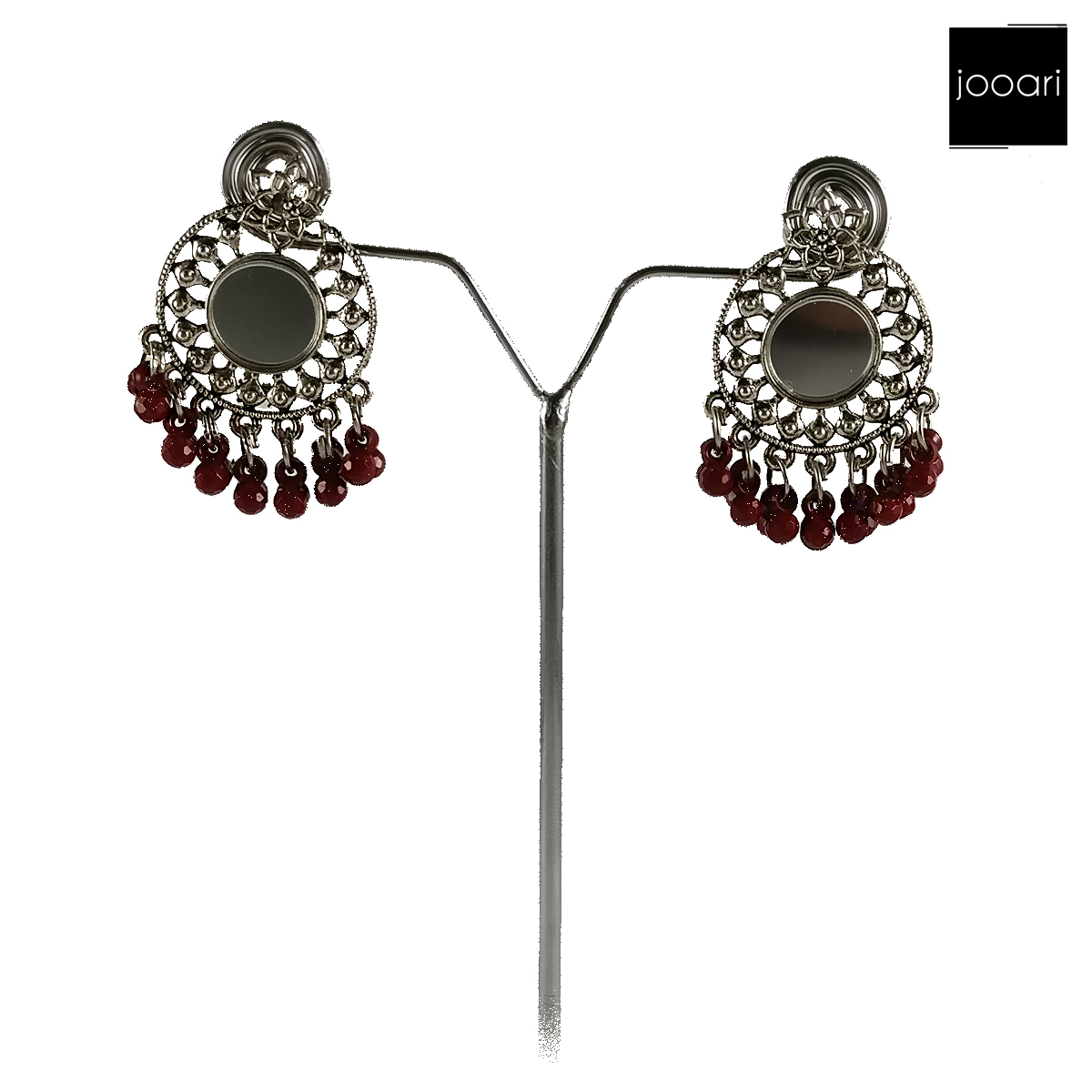 Silver Red Antique Plated Afghani Earrings for Women