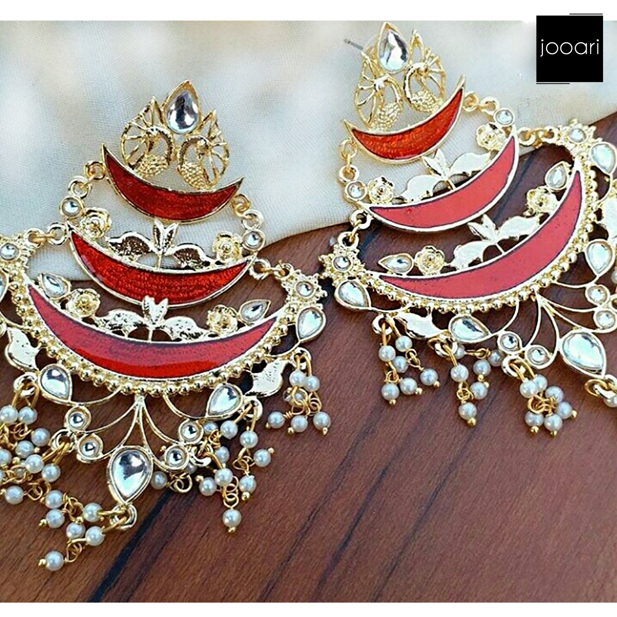 Half Moon Shape Red Color Gold Oxidised Earrings for Women