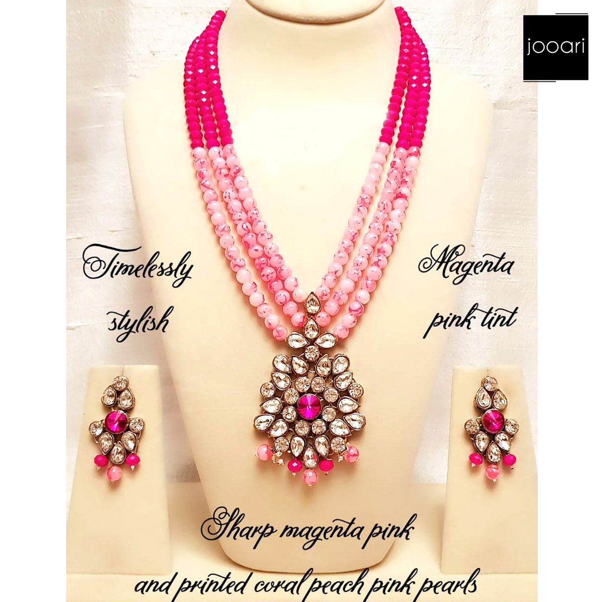 Magenta Pink Tint Coral Peach Pearls Pendant for Women Traditional Look