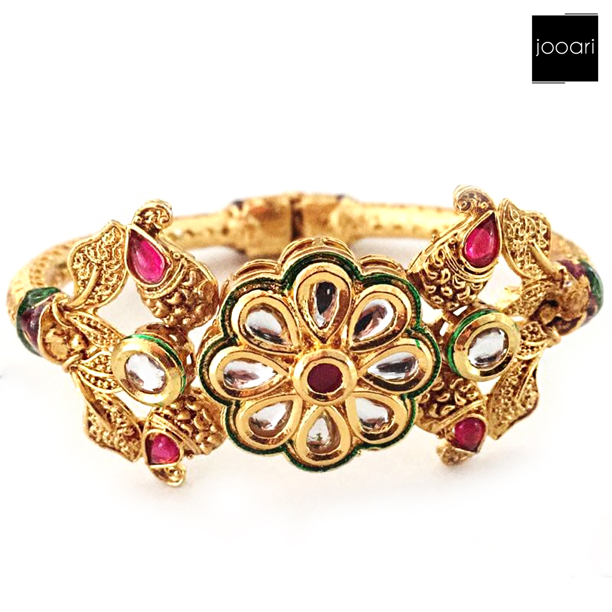 New Antique Designer Openable Bracelet Kada Pink stones for Women and Girls