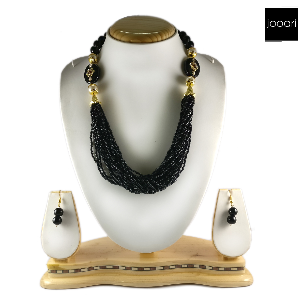 Black Pearl Designer Necklace Set and Earrings with Black Bead Chain for Women