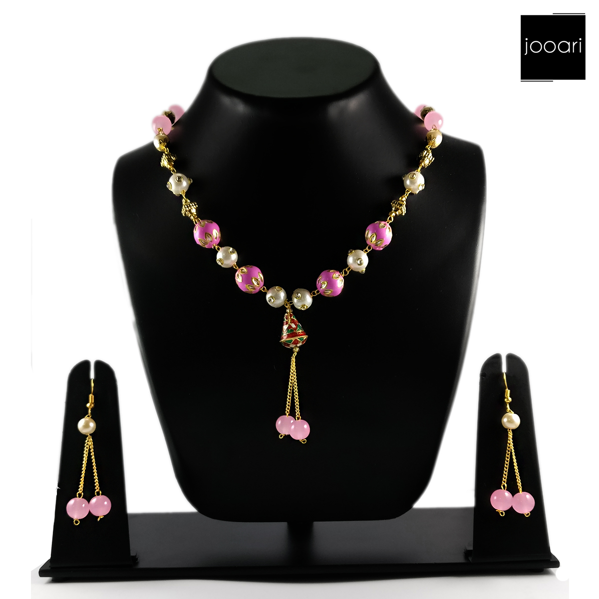 Pink White American Pearl Designer Necklace Set for Women(Partywear)