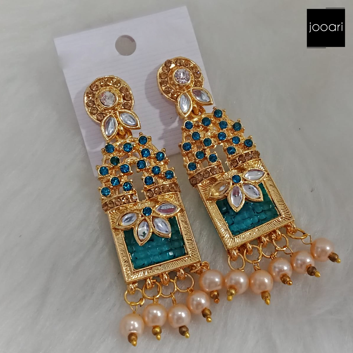 Gold Plated Green Stones White Pearl Jhumka Earrings for Women