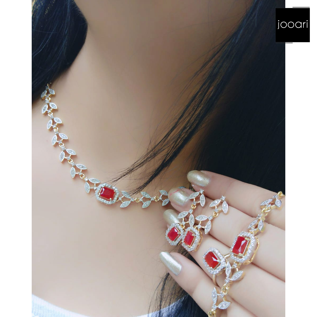 French Red Stone Studded Exquisite Pendant Set for Women and Girls