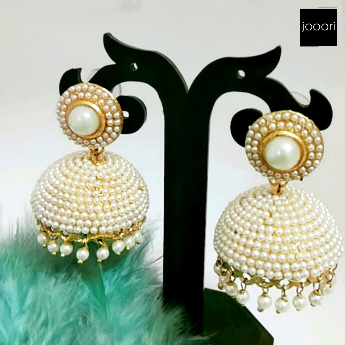 Small White Pear Jhumka Earrings Rick look for Women